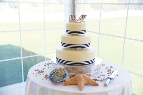 Seaside themed 3 tier wedding cake - Thorpeness Country Club